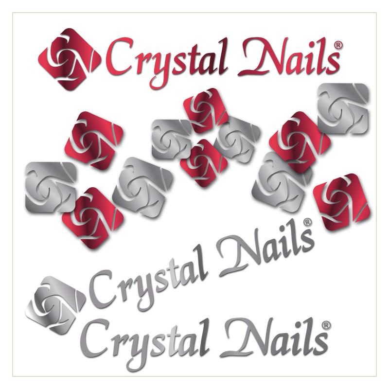 Krómhatású Fém Crystal Nails Logók